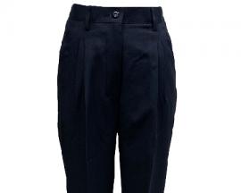 女版深藍色打摺西裝褲