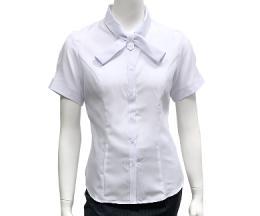 白色暗紋交叉領襯衫